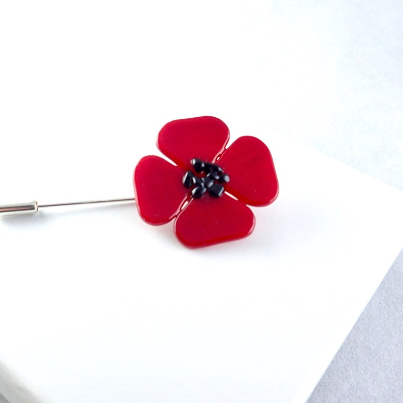 Fused Glass Poppy Pin-Red Fused Glass Poppy Lapel Stick Pin-Limited Edition  Remembrance Day Poppy-Flower Lapel Pin-Poppy Flower Brooch