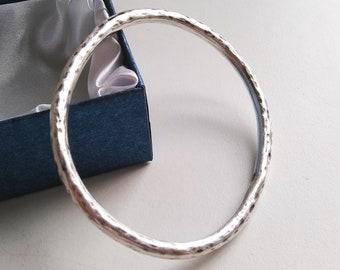 Wide bracelet 925 SILVER HAMMERED BRACELET Vintage Jewelry Bangle Modern Sterling silver Large cuff bracelet Brutalist Gift