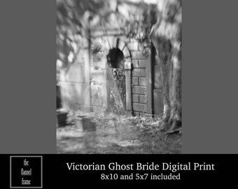 Creepy Ghost Spirit PHOTO Freak Scary Halloween Phantom Shadow 1899 Vintage