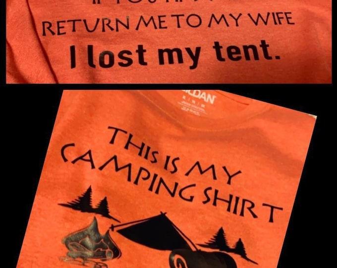Camping shirt, mens camping shirt, lost shirt, tent shirt, camp shirt, personalized men shirt, orange shirt, mens shirt, camper, camp