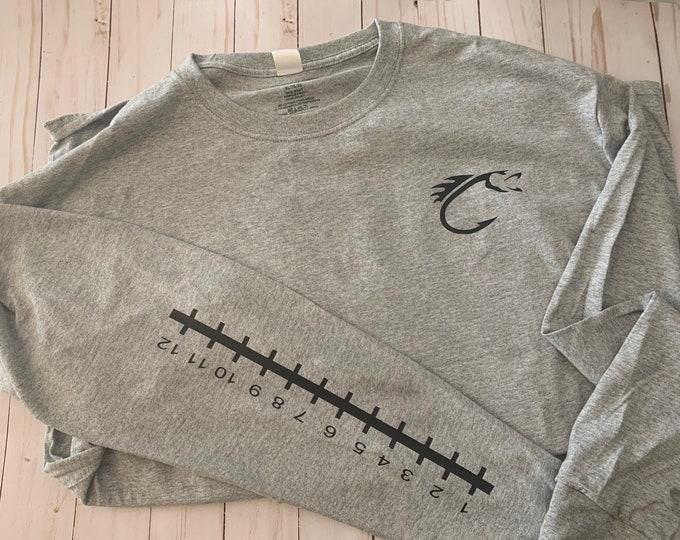 Long sleeve fishing shirt, measuring fish shirt, ruler shirt, fish measuring shirt, fisherman gift, father gift, husband gift, fishing, fish