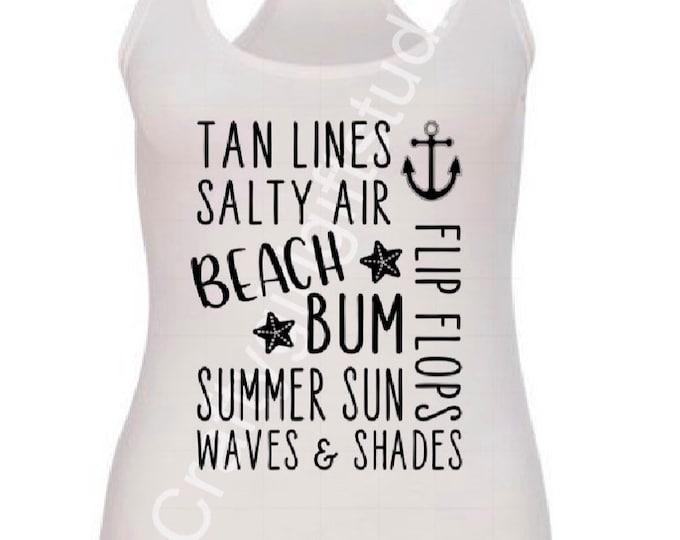 Summer tank, summer things, tan lines, summer shirt, next level, comfy tank, salty air, beach bum, shirt, womans tank, gift for her