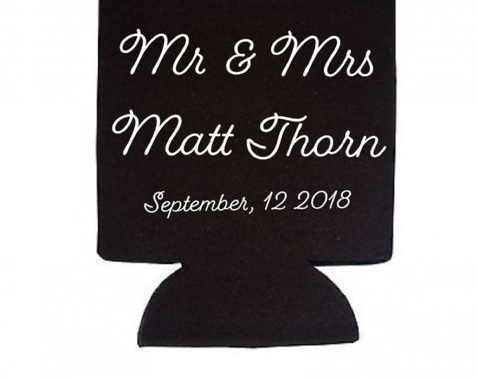 Wedding favors, beverage holders, beer cozies, can coozie, coffee coozie,favors, personalized cozies, personalized favors, coozie, can hold