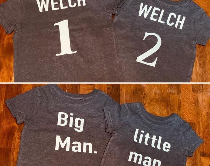 PERSONALIZED MATCHING SHIRTS, Matching boys shirts, matching brother shirts, boy shirt, personalized shirts, big man, little man, kids shirt