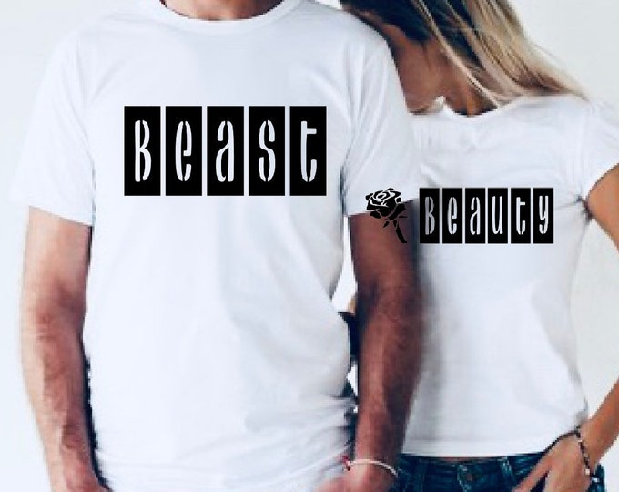 Pair of Beast and beauty matching shirts, beast shirt, beauty shirt, couples shirts, matching couple shirts, his and her shirts, matching