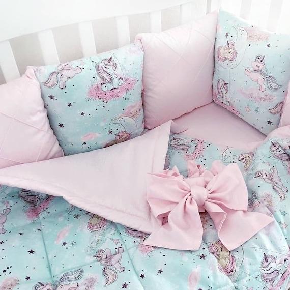 Unicorn crib bedding set Baby bedding crib sets girl Mini crib | Etsy