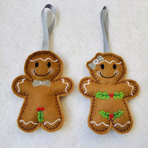 Peaky Gingerbread Felt Embroidered Hanging Decoration Ornament
