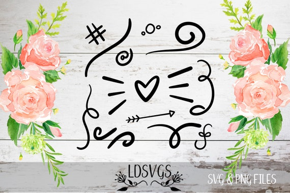 Swirls Swashes Doodles Svg File Handwritten Word Endings Etsy