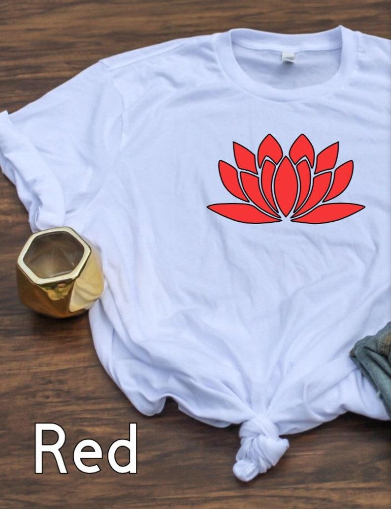 women/'s top Women/'s lotus flower tee meditation T-shirt