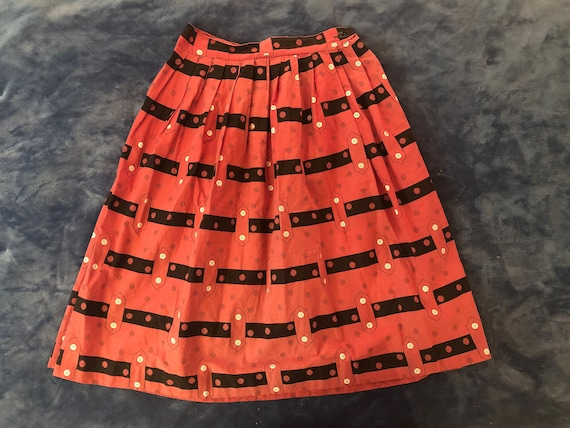 Novelty Print 1950s Skirt | S