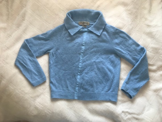 1950s Baby Blue Cashmere Sweater | XS