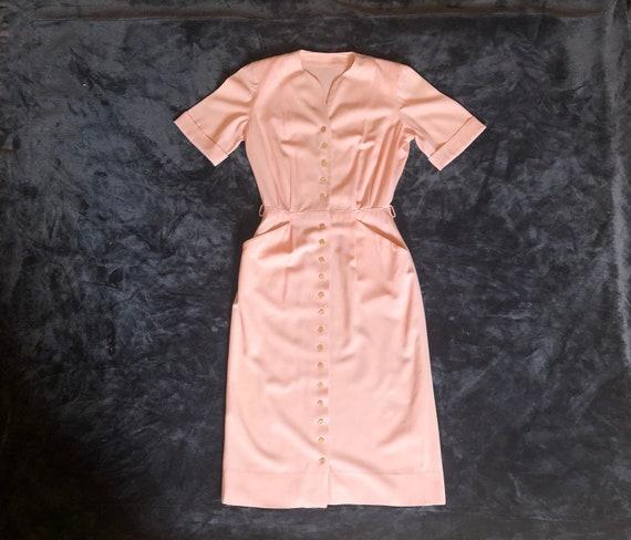 1940s Pink Designer Dress | S
