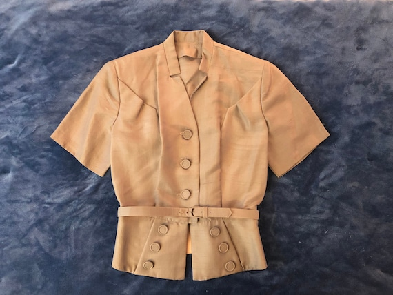 1940s Gold Peplum Belted Suit Jacket | S
