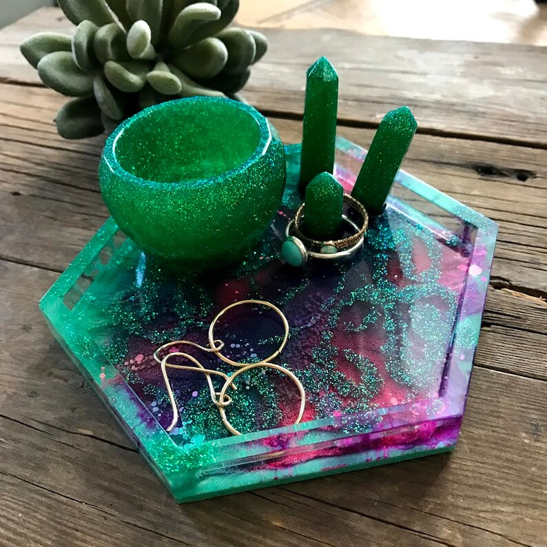 Gold Flake  Alcohol Ink resin Coaster Trinket dish Resin coaster Jewelry Trinket Dishj