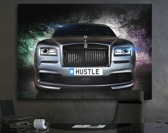 ROLLS ROYCE STATUE CAR MODERN DESIGN BOX CANVAS PRINT WALL ART PICTURE PHOTO