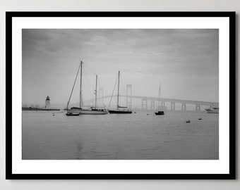 Newport, Rhode Island Foggy Morning on the Bay - Framed - Ready-to-Hang - Multiple Sizes
