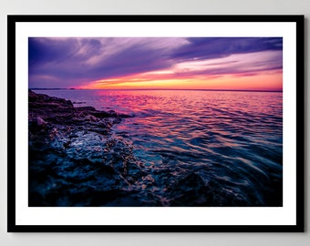 Presque Isle Park Sunset in Marquette, Michigan - Fine Art Photograph - Framed - Ready-to-Hang - Multiple Sizes