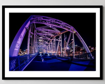 Downtown Nashville, Tennessee Night on the Pedestrian Bridge - Fine Art Photograph - Framed - Ready-to-Hang - Multiple Sizes
