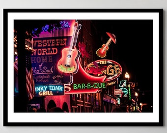 Neon in Nashville, Tennessee - Nashville Nightlife Neon Signs - Fine Art Photograph - Framed - Ready-to-Hang - Multiple Sizes