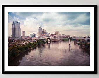 Downtown Nashville, Tennessee on the Cumberland River Fine Art Photograph - Framed - Ready-to-Hang - Multiple Sizes