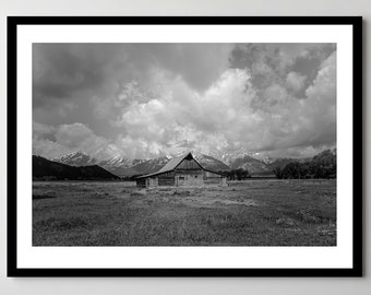Grand Tetons Old Barn near Jackson, WY in Black and White - Fine Art Photograph - Framed - Ready-to-Hang - Multiple Sizes
