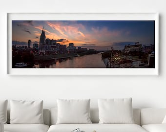 12x36 Panoramic of Downtown Nashville, Tennessee Evening on the Cumberland River - Fine Art Photograph - Framed - Ready-to-Hang