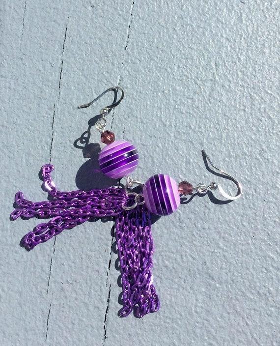 Purple earrings hoop earrings purple beads sterling silver earrings green earrings green beads
