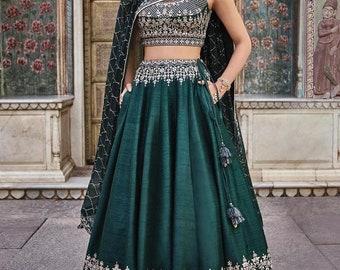 57ebf09843 Sharara Bridal Wear Lehenga Choli Outfit Green color Bridal Net Dupatta  Stitched Lehenga Choli Women and Girls Customised Stitching Wear