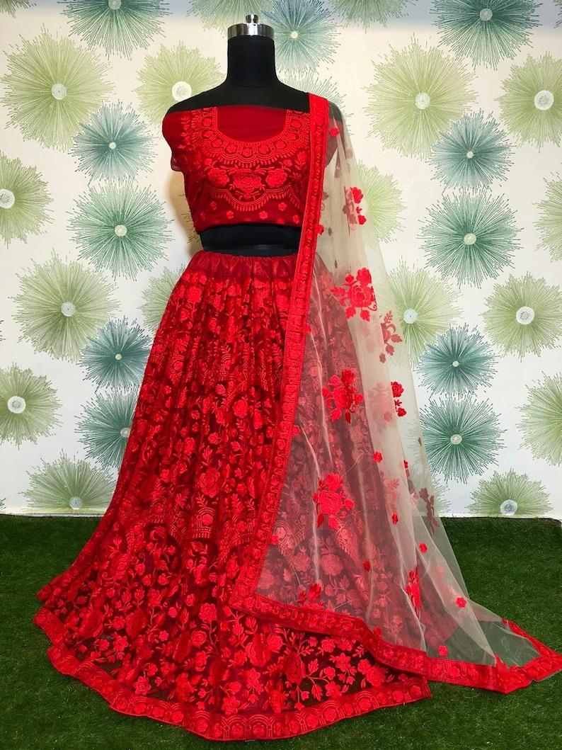 Lehenga Made to order Indian designer Embroidery Work Lengha Choli dupatta for women exclusive wedding party wear Lengha Choli for women