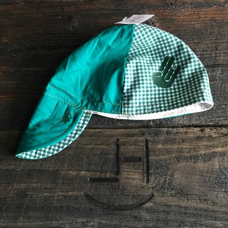 SHOCKER *GLOW-N-DARK* on Black Welding Hat Welder Hats Cap Biker Hood Helmet