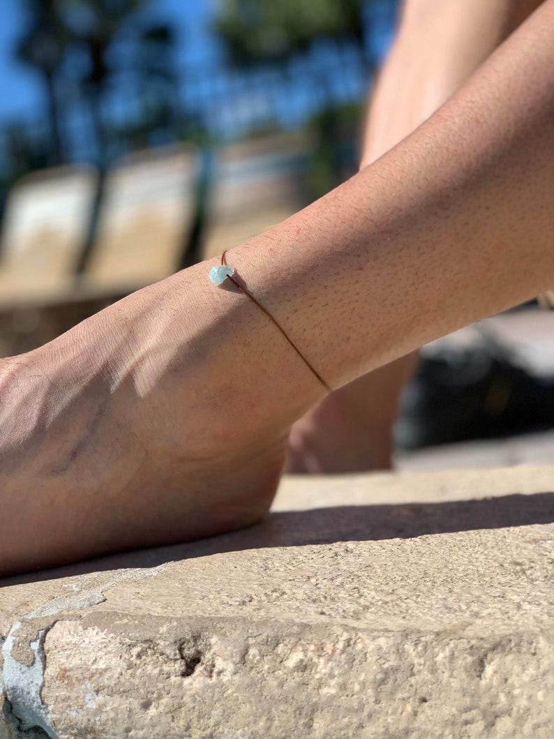 mens bracelet kids bracelet stack bracelet summer gift wish string aquamarine bracelet rough stone jewelry unisex gift teen bracelet