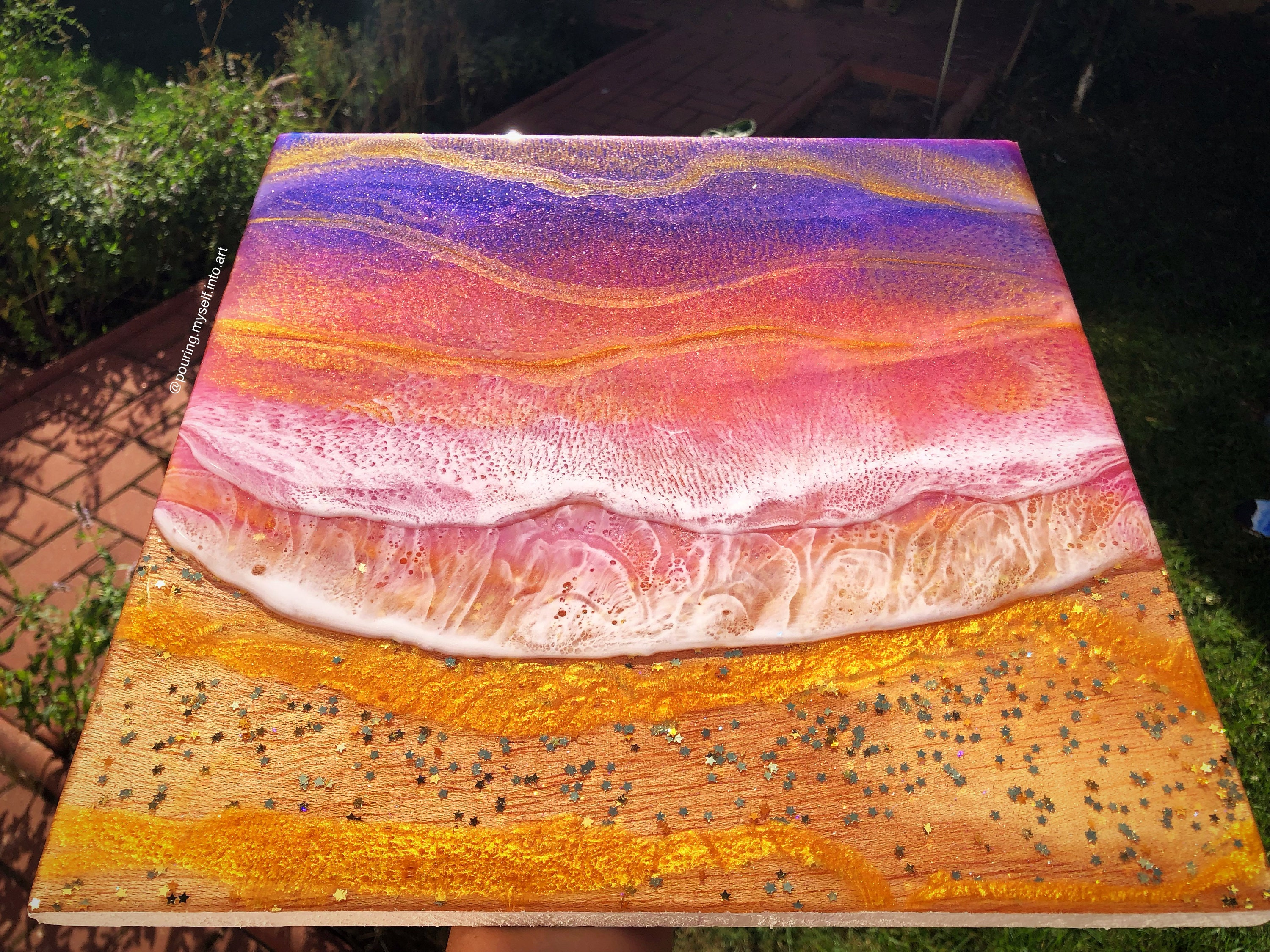 12\u00d712x34 resin painting on canvas. Untitled