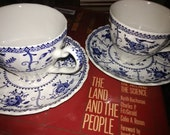 Johnson Bros Indies Ironstone Made in England 1980s 2 Coffee Cups and Plates