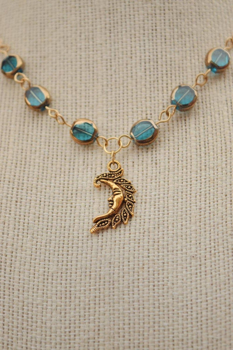 Turquoise and Gold Moon Charm Necklace