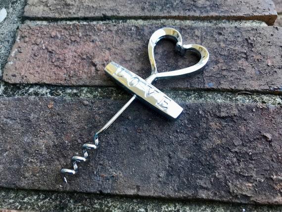 Wedding Favours-Silver and Gold Wedding Heart Corkscrew Bottle Opener Wine