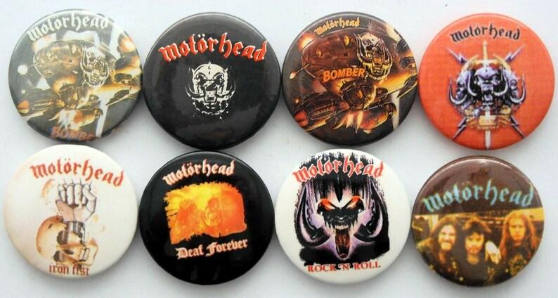 Vintage Set x 8 PinsBadgesspille a bottone anni 80s MOTORHEAD  Lemmy