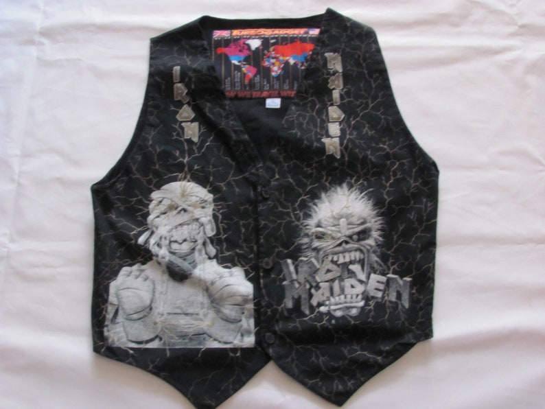 Ultra Rare  Vintage Gilet IRON MAIDEN  Killers Large Made in Italy 1990s Tg