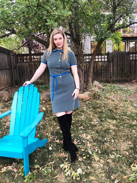 Vintage 1960s Blue + Yellow Mod Dress with Asymmet