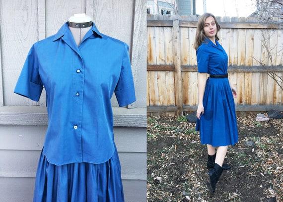 Vintage 1950s Dusky Blue Pleated Skirt & Blouse Se