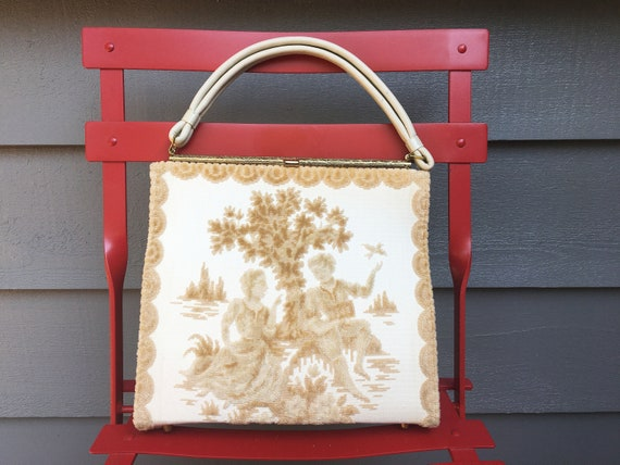 Vintage 1950s White + Gold Rococo Pastoral-Style T