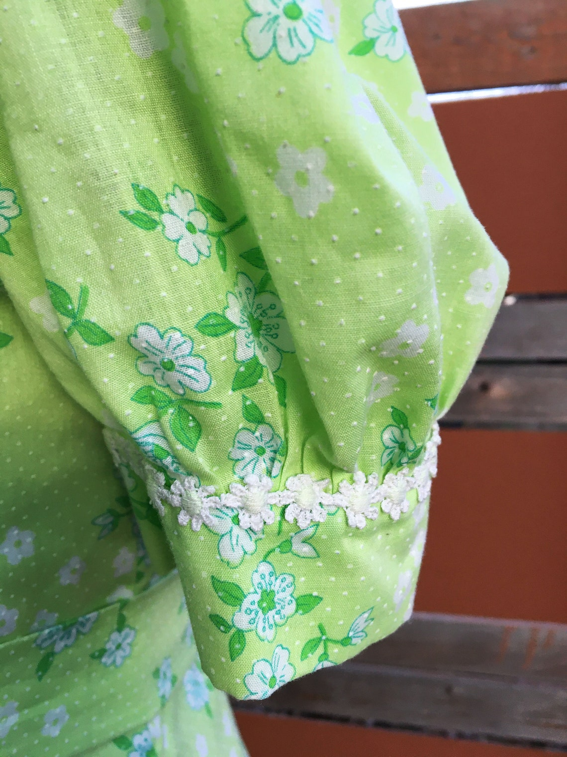 Vintage 1970s Lime Green Floral  Swiss Dot Maxi Dress with
