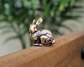 Rabbit Brass Small Animal Sculpture Handmade Collectible Figurine Bunny Miniature