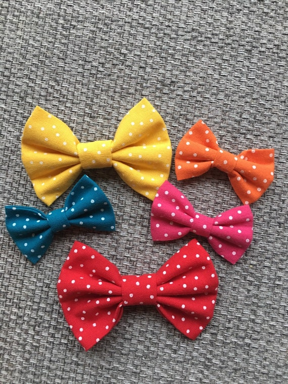 Pink/Red/Orange/Yellow/Blue spotted dog/cat bow tie for collars | Over the collar bow tie | gifts for dogs | gifts for cats| pet neckwear