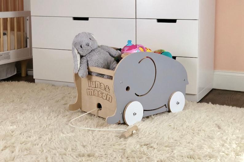 Luma Rolling Toy Box and Wagon  Gray Elephant Edition image 0