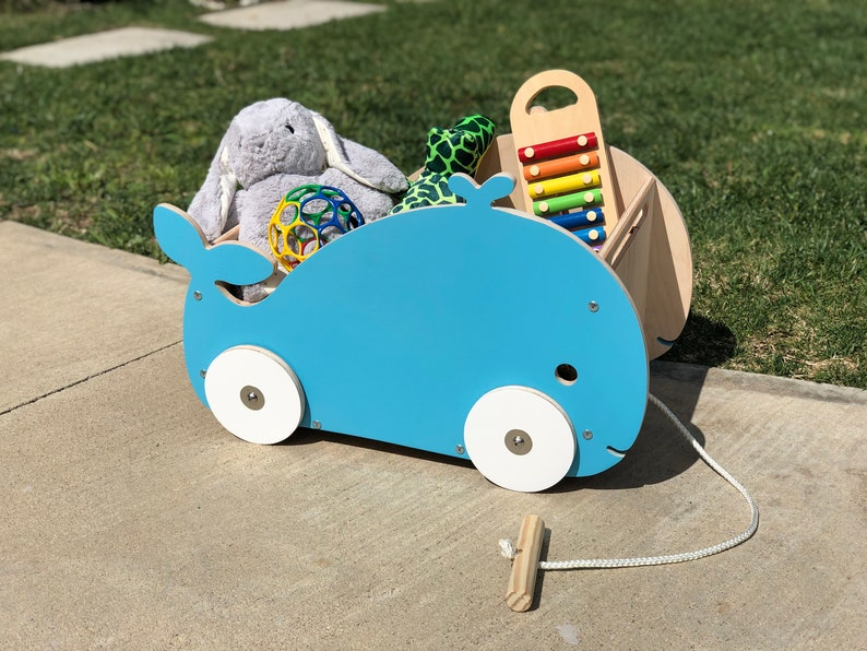 Luma Rolling Toy Box and Wagon  Blue Whale Edition image 0
