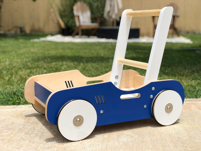 Toddler Walker & Wagon in Royal Blue  Handcrafted Wood Toy image 0