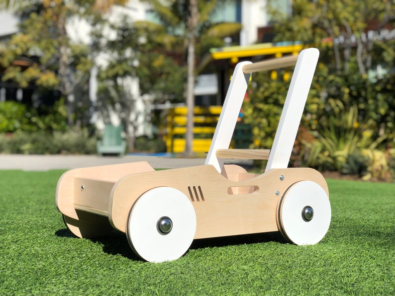 Toddler Walker & Wagon  Handcrafted Wood Toy Natural Wood / White