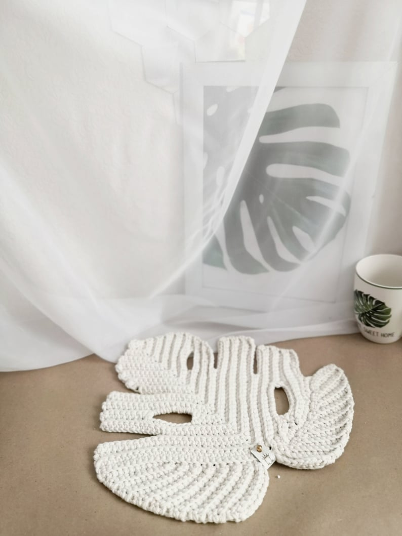 Crochet PATTERN Leaf Monstera eco-cotton. Napkin for table image 5