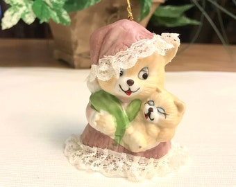 Christmas Porcelain Bell, Jasco Caring Critters Chimers, Dangle-Leg Bell, Mama Cat with Baby Kitten