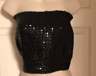 ad91c78058 Vintage 1970s Black Sequin Tube Top